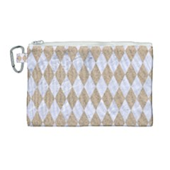 Diamond1 White Marble & Sand Canvas Cosmetic Bag (large) by trendistuff