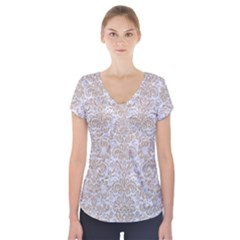 Damask2 White Marble & Sand (r) Short Sleeve Front Detail Top by trendistuff