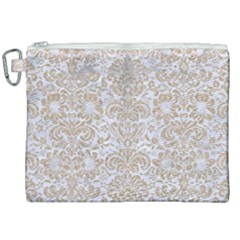 Damask2 White Marble & Sand (r) Canvas Cosmetic Bag (xxl) by trendistuff
