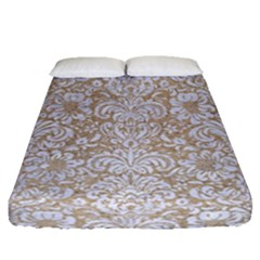 Damask2 White Marble & Sand Fitted Sheet (queen Size) by trendistuff