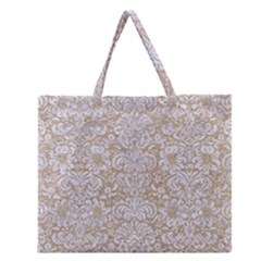 Damask2 White Marble & Sand Zipper Large Tote Bag by trendistuff