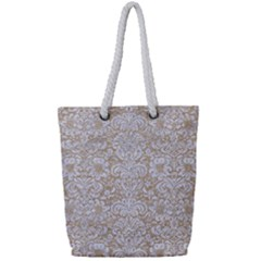 Damask2 White Marble & Sand Full Print Rope Handle Tote (small) by trendistuff