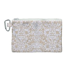 Damask2 White Marble & Sand Canvas Cosmetic Bag (medium) by trendistuff
