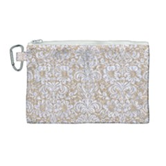 Damask2 White Marble & Sand Canvas Cosmetic Bag (large) by trendistuff