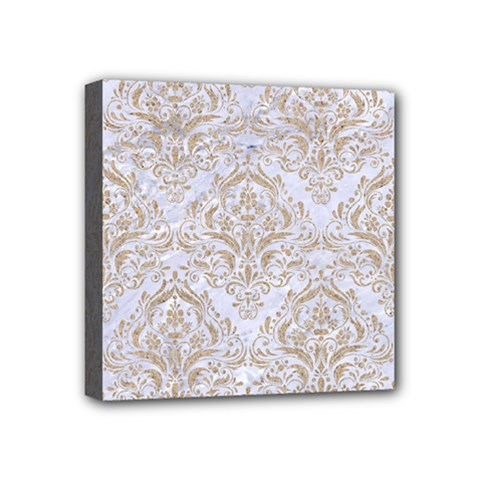 Damask1 White Marble & Sand (r) Mini Canvas 4  X 4  by trendistuff