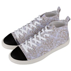 Damask1 White Marble & Sand (r) Men s Mid Top Canvas Sneakers by trendistuff