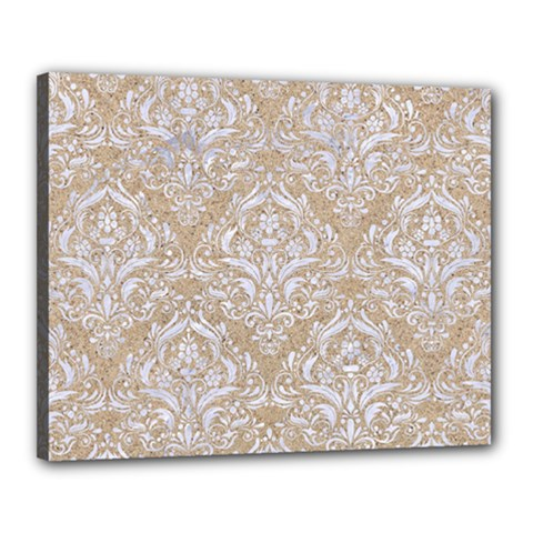 Damask1 White Marble & Sand Canvas 20  X 16  by trendistuff