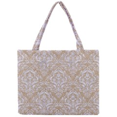 Damask1 White Marble & Sand Mini Tote Bag by trendistuff
