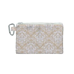 Damask1 White Marble & Sand Canvas Cosmetic Bag (small) by trendistuff