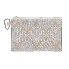 Damask1 White Marble & Sand Canvas Cosmetic Bag (large) by trendistuff