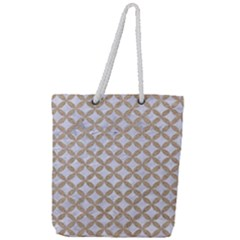 Circles3 White Marble & Sand (r) Full Print Rope Handle Tote (large) by trendistuff