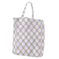 Circles2 White Marble & Sand Giant Grocery Zipper Tote