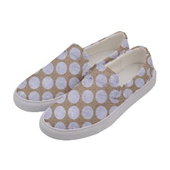 Circles2 White Marble & Sand Women s Canvas Slip Ons by trendistuff