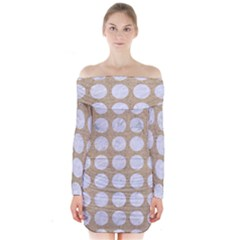 Circles1 White Marble & Sand Long Sleeve Off Shoulder Dress