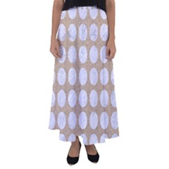 Circles1 White Marble & Sand Flared Maxi Skirt