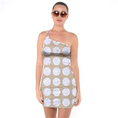 Circles1 White Marble & Sand One Soulder Bodycon Dress