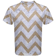 Chevron9 White Marble & Sand (r) Men s Cotton Tee by trendistuff