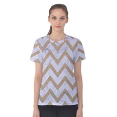 Chevron9 White Marble & Sand (r) Women s Cotton Tee by trendistuff