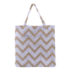 Chevron9 White Marble & Sand (r) Grocery Tote Bag by trendistuff