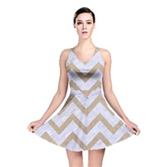Chevron9 White Marble & Sand (r) Reversible Skater Dress by trendistuff