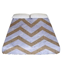 Chevron9 White Marble & Sand (r) Fitted Sheet (queen Size) by trendistuff
