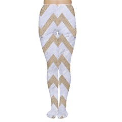 Chevron9 White Marble & Sand (r) Women s Tights by trendistuff