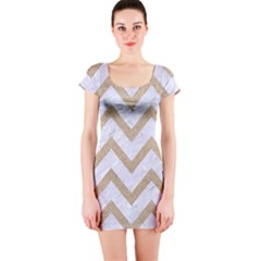 Chevron9 White Marble & Sand (r) Short Sleeve Bodycon Dress by trendistuff