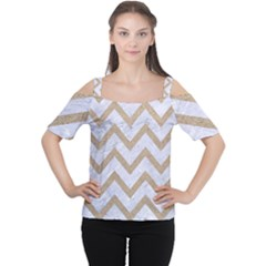 Chevron9 White Marble & Sand (r) Cutout Shoulder Tee