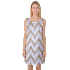 Chevron9 White Marble & Sand (r) Sleeveless Satin Nightdress by trendistuff
