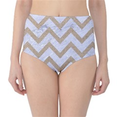 Chevron9 White Marble & Sand (r) High Waist Bikini Bottoms by trendistuff