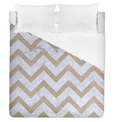 Chevron9 White Marble & Sand (r) Duvet Cover (queen Size) by trendistuff