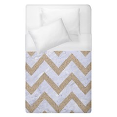 Chevron9 White Marble & Sand (r) Duvet Cover (single Size) by trendistuff
