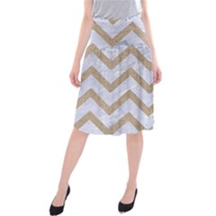 Chevron9 White Marble & Sand (r) Midi Beach Skirt by trendistuff