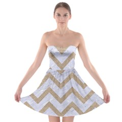 Chevron9 White Marble & Sand (r) Strapless Bra Top Dress by trendistuff