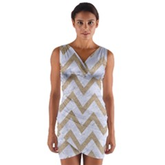 Chevron9 White Marble & Sand (r) Wrap Front Bodycon Dress by trendistuff