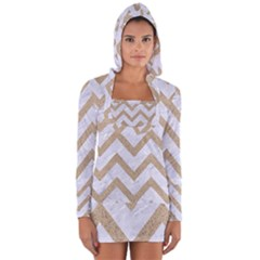 Chevron9 White Marble & Sand (r) Long Sleeve Hooded T Shirt by trendistuff