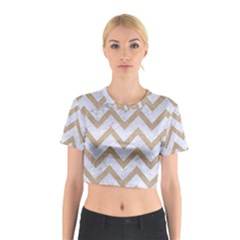 Chevron9 White Marble & Sand (r) Cotton Crop Top by trendistuff