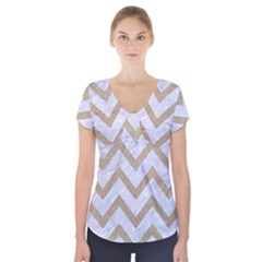 Chevron9 White Marble & Sand (r) Short Sleeve Front Detail Top by trendistuff