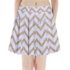 Chevron9 White Marble & Sand (r) Pleated Mini Skirt by trendistuff