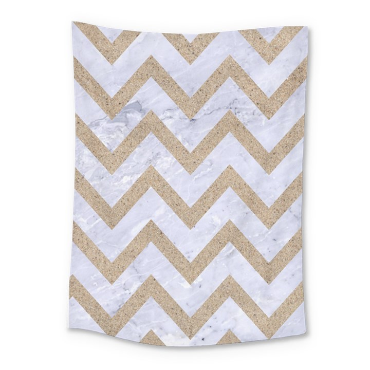 CHEVRON9 WHITE MARBLE & SAND (R) Medium Tapestry
