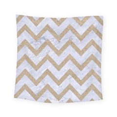 Chevron9 White Marble & Sand (r) Square Tapestry (small) by trendistuff
