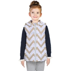Chevron9 White Marble & Sand (r) Kid s Hooded Puffer Vest by trendistuff