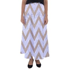 Chevron9 White Marble & Sand (r) Flared Maxi Skirt by trendistuff