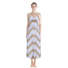Chevron9 White Marble & Sand (r) Button Up Chiffon Maxi Dress by trendistuff