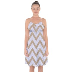 Chevron9 White Marble & Sand (r) Ruffle Detail Chiffon Dress by trendistuff