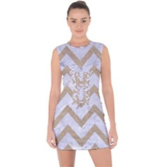 Chevron9 White Marble & Sand (r) Lace Up Front Bodycon Dress by trendistuff