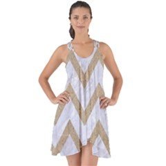 Chevron9 White Marble & Sand (r) Show Some Back Chiffon Dress by trendistuff