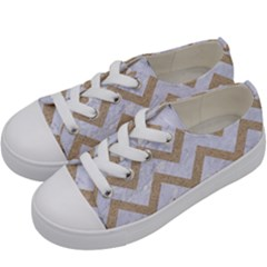 Chevron9 White Marble & Sand (r) Kids  Low Top Canvas Sneakers by trendistuff