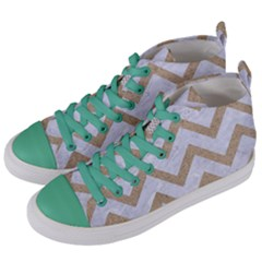 Chevron9 White Marble & Sand (r) Women s Mid Top Canvas Sneakers by trendistuff