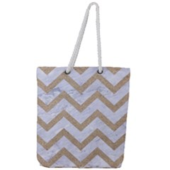 Chevron9 White Marble & Sand (r) Full Print Rope Handle Tote (large) by trendistuff